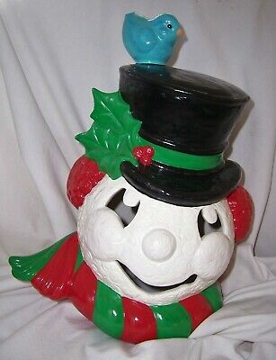"Vintage ceramic SNOWMAN Head w/ BLUE BIRD perched on TOP HAT Lamp Light 13½"" H"