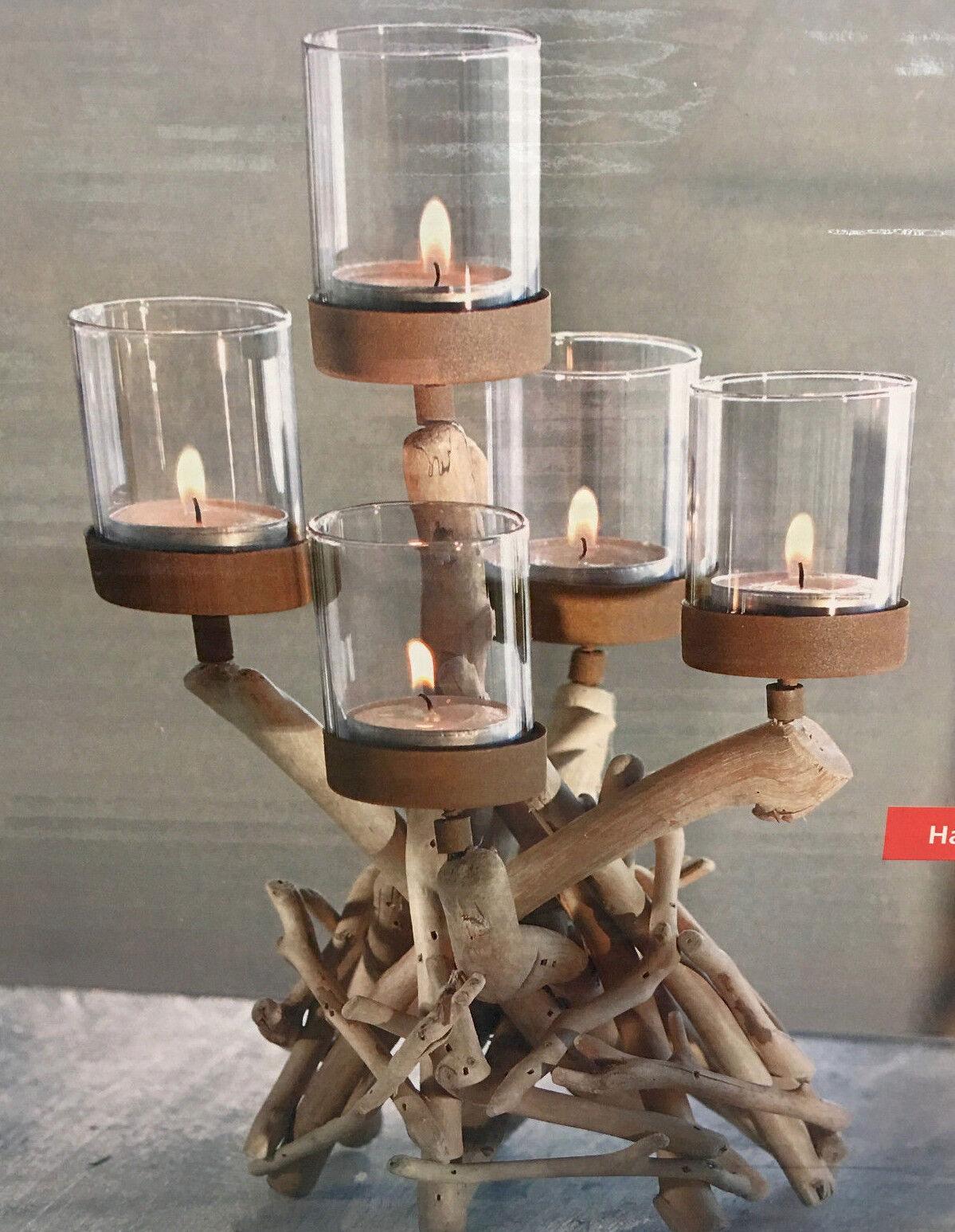 Kerzenständer Teelichthalter Treibholz Tischdeko Holz Natur Glas Landhaus Neu