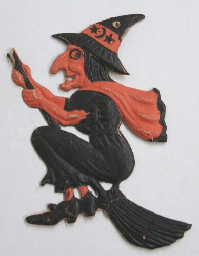 "Vintage Halloween 1920s Germany Mini Witch Die-Cut DieCut 5"" Tall"