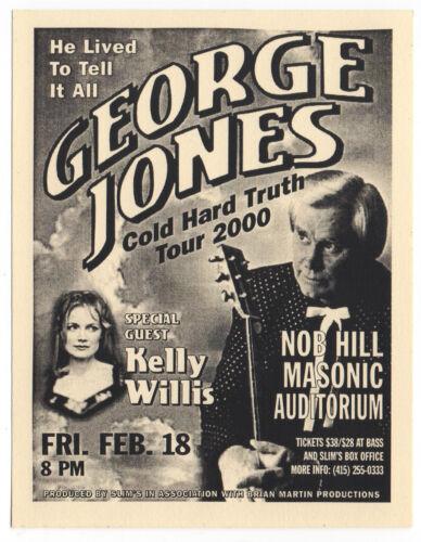 NICE MINT ORIGINAL Y2K GEORGE JONES KELLY WILLIS SAN FRANCISCO CONCERT HANDBILL
