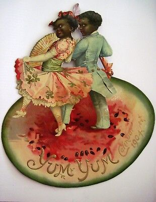 Gorgeous Black Americana Die Cut w/ Two Children Dressed in Old Style Clothes  *