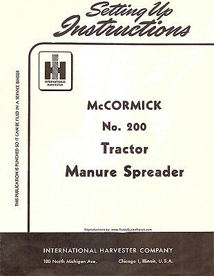 Mccormick Ih No. 200 200 Manure Spreader Owners Operator Manual Tractor 1954