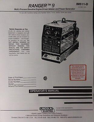 Lincoln Ranger 9 Welder Onan Engine Owner Master Service Parts 4 Manual S