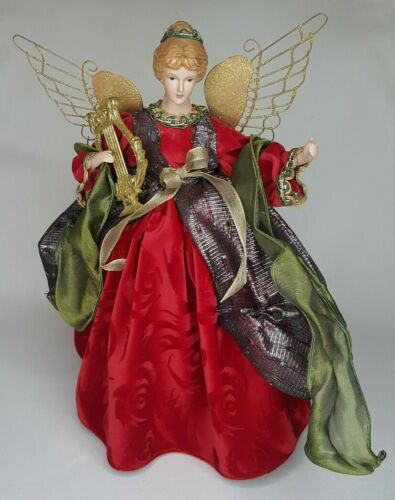 Vintage Winged Angel Cone Tree Topper Golden Harp, Red Robe