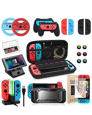 Nintendo Switch Accessories Bundle/Kit *10 In 1* W Case Charging Doc And MORE