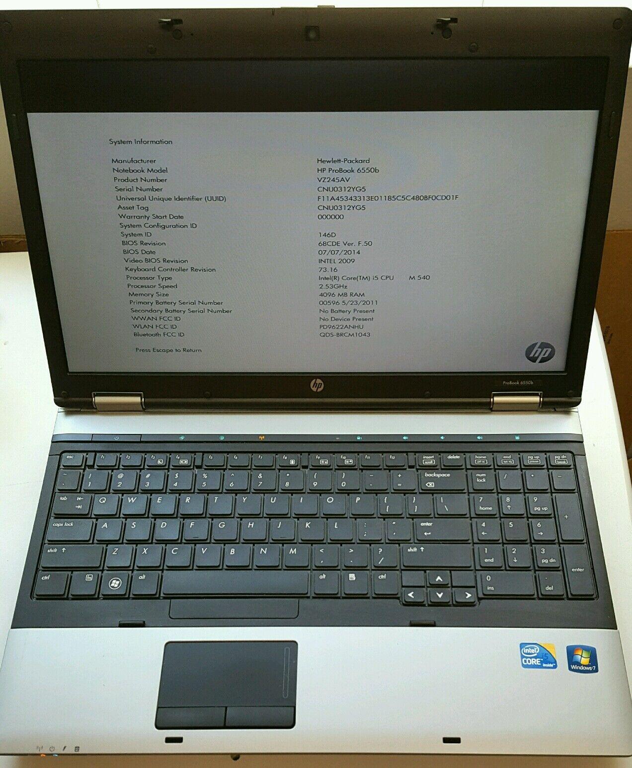 HP PROBOOK 6550B CORE i5 - 2.53GHz 4GB 15.6