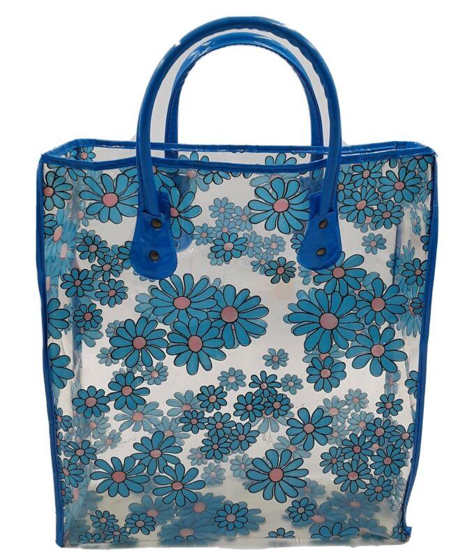 Vintage Mod Flowered Clear Vinyl Tote Bag 1960s-70s  Flower Power Daisy