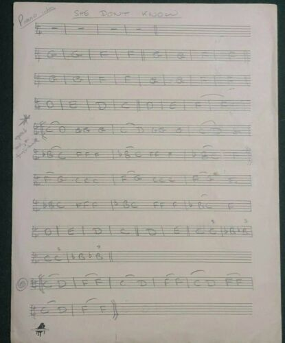 """John Entwistle Handwritten Title, Music and Notes to """"She Don"""