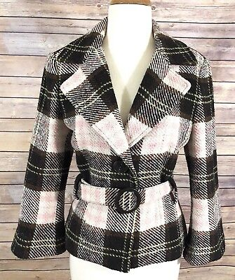 Used, CAbi Italian Cloth Brown Pink Wool Blend Plaid Lined Jacket #730 for sale  Fredericksburg