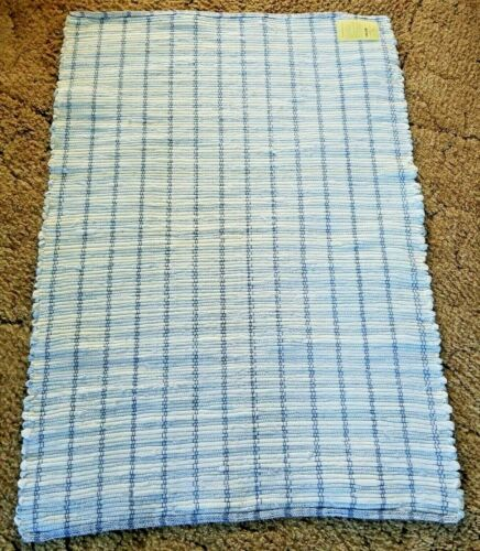 "Blue & White Woven Rag Rug Hand Loomed 39"" x 27"" New USA Made Machine Wash"