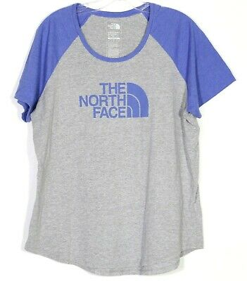 THE NORTH FACE Womens XL X-Large Tee Top Raglan Baseball Blue Gray Classic Fit