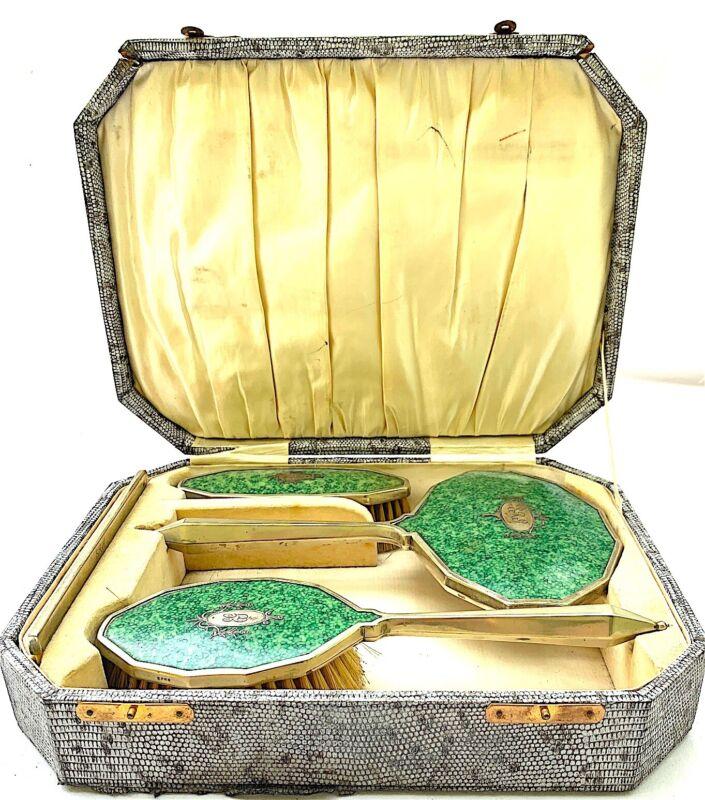 Antique Art Deco Vanity Set Silver Plate Original Case
