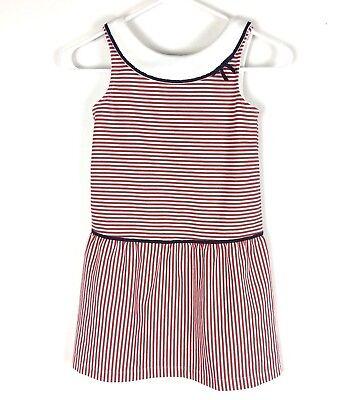 Janie and Jack Girls 7 Dress Americana Charm Striped Ponte Red White Drop Waist