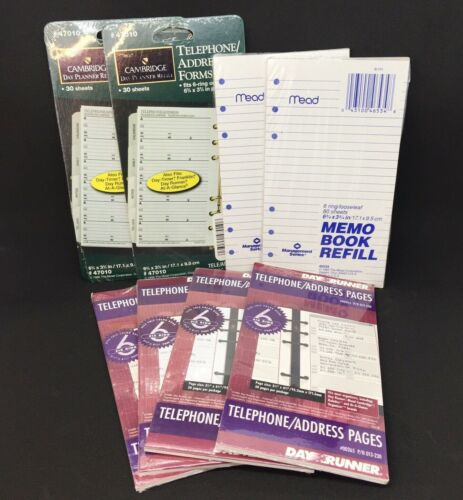 Lot of 8 Directory Organizer Refill Telephone Address Pages Memo Book 6-Ring
