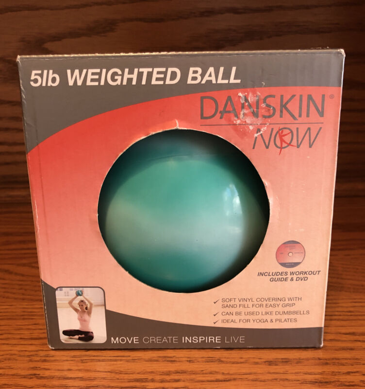 Danskin Now 5 Pound LB Weighted Ball Teal & White Swirl Workout Exercise NEW