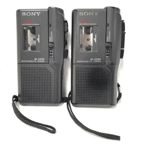 Lot (2) SONY M-529V Microcassette-Corder WORK BUT NEED REPAIR Voice Recorder