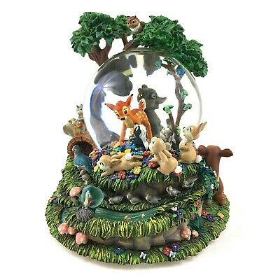 "Large Disney BAMBI Musical MOTION Snow Globe Wind Up ""LITTLE APRIL SHOWERS"" VTG"