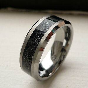 ALL NEW 8mm TUNGSTEN CARBIDE MENS WEDDING BAND RING BLACK SHINY CENTER SZ 6 15