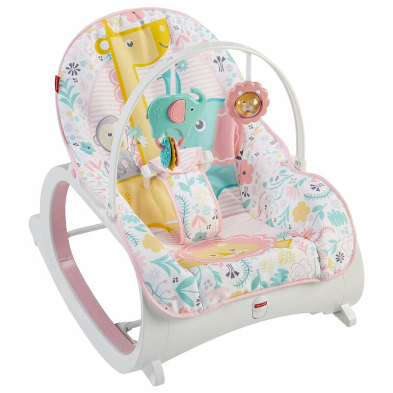 Fisher-Price DTH00 Portable Vibrating Newborn to Toddler Rocking Chair, Pink
