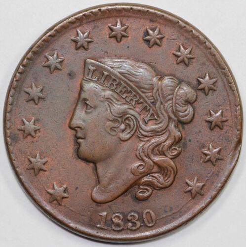 1830 1c N-4 Coronet or Matron Head Large Cent