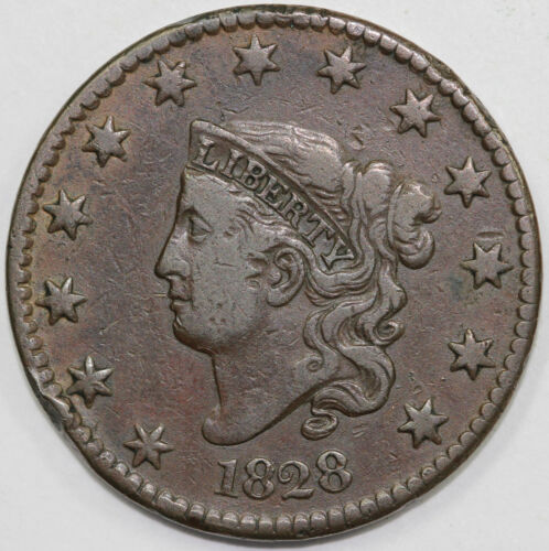 1828 1c N-1 Coronet or Matron Head Large Cent