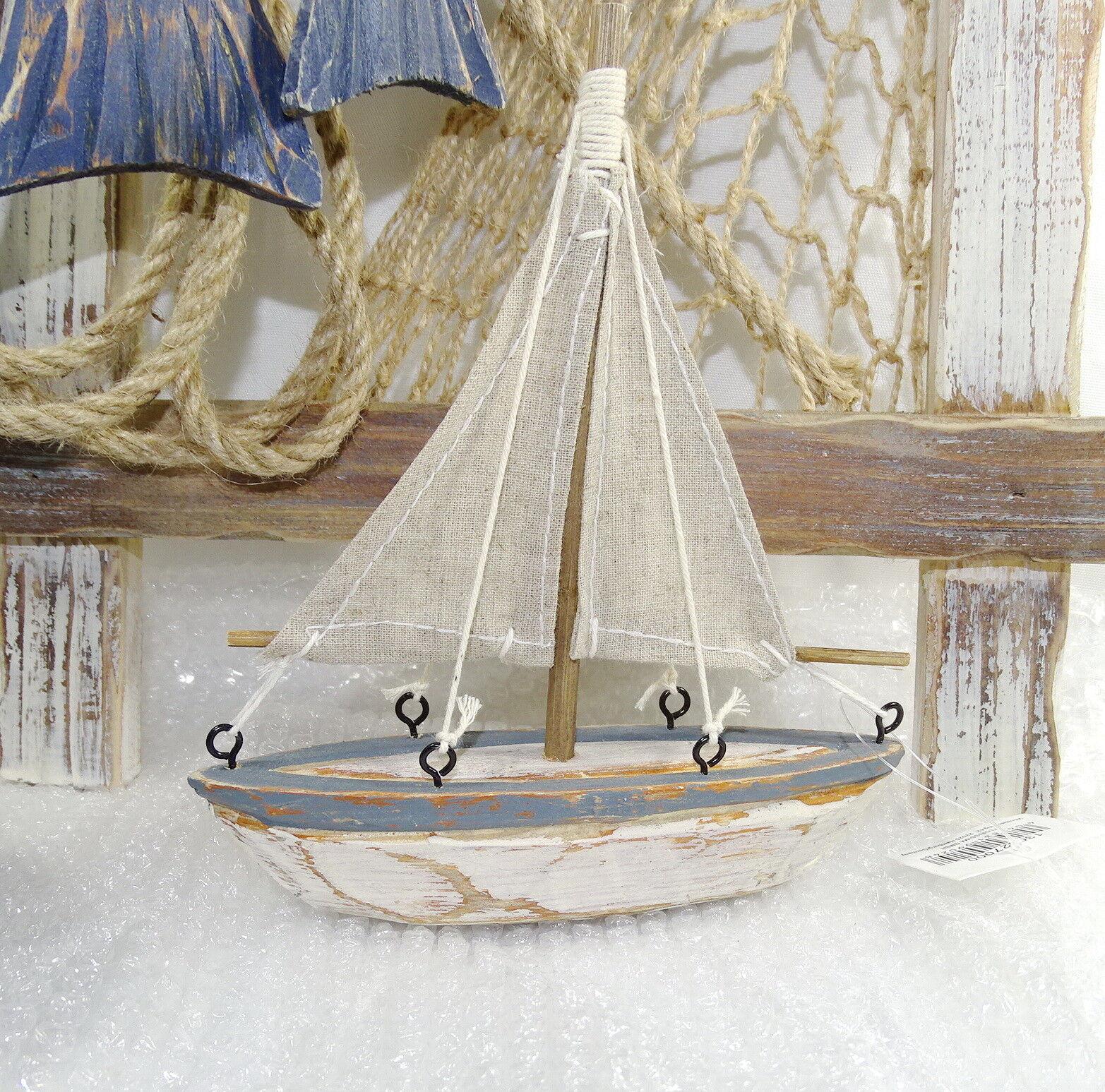 Deko-Segelboot 14/16 cm Holz Struktur maritim Shabby Sommer Schiff Boot