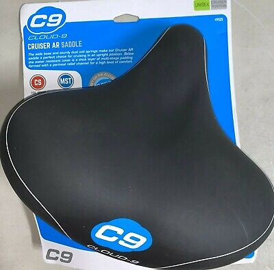 Sunlite Cloud-9 Bicycle Comfort Spring Saddle Black Grey Cruiser Bike Seat Lycra