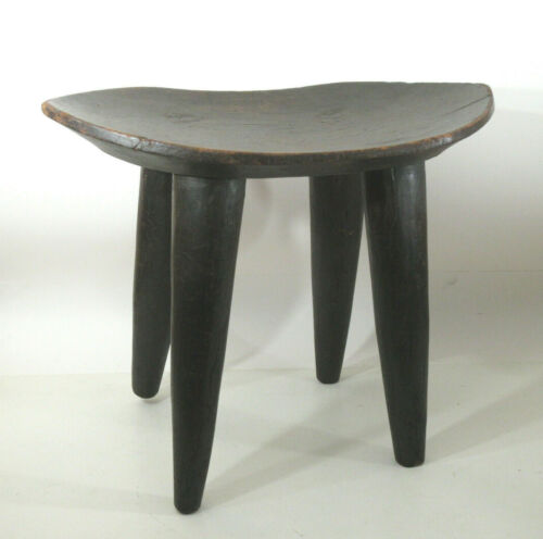 "Vtg African Senufo Senufu Stool Solid Wood Carved Mali Ivory Coast Large 29""wide"