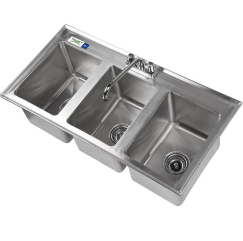 "37"" Three Compartment 10"" x 14"" x 10"" Bowl Faucet Stainless Steel Drop In Sink 3"