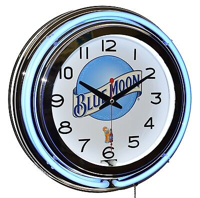 "Blue Moon Brewing Co. 15"" Blue Double Neon Advertising Clock Man Cave Bar Decor"