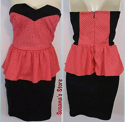 New bebe SEXY STRAPLESS PEPLUM DRESS SIZE S Captivating Coral color Peplum dress