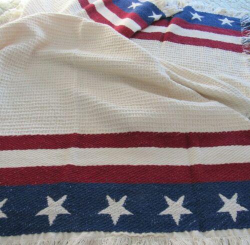 "Lap Robe Throw Blanket Red White Blue Stars & Stripes Fringed 43"" x 61"" Cozy NEW"