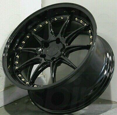18x9.5 Gloss Black Wheels Aodhan DS07 DS7 5x114.3 +22 Rims 18 Inch Rims Set 4