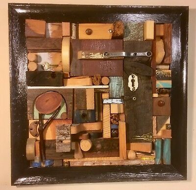 Found Art Sculpture (Unique art, abstract wood relief sculpture, reclaimed wood, found objects. )