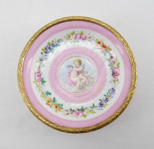 Antique Nicholas Haydon Brass & Porcelain SMALL DISH Tray Cherub & Ormolu