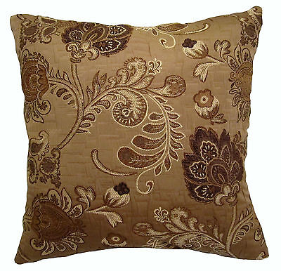 Shades of Brown Brocade Decorative Throw Pillow on Rummage