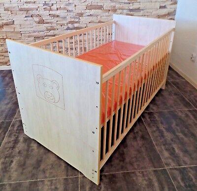 Babybett Set Komplett Gitterbett Juniorbett 70x140 UMBAUBAR weiß rosa Matratze