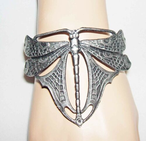 DRAGONFLY Bracelet ART NOUVEAU Wide Adjustable Cuff Silver Pltd