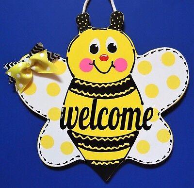 Art Welcome Sign - Welcome BUMBLEBEE SIGN Wall Art Door Hanger Garden BEE Plaque Home Summer Decor