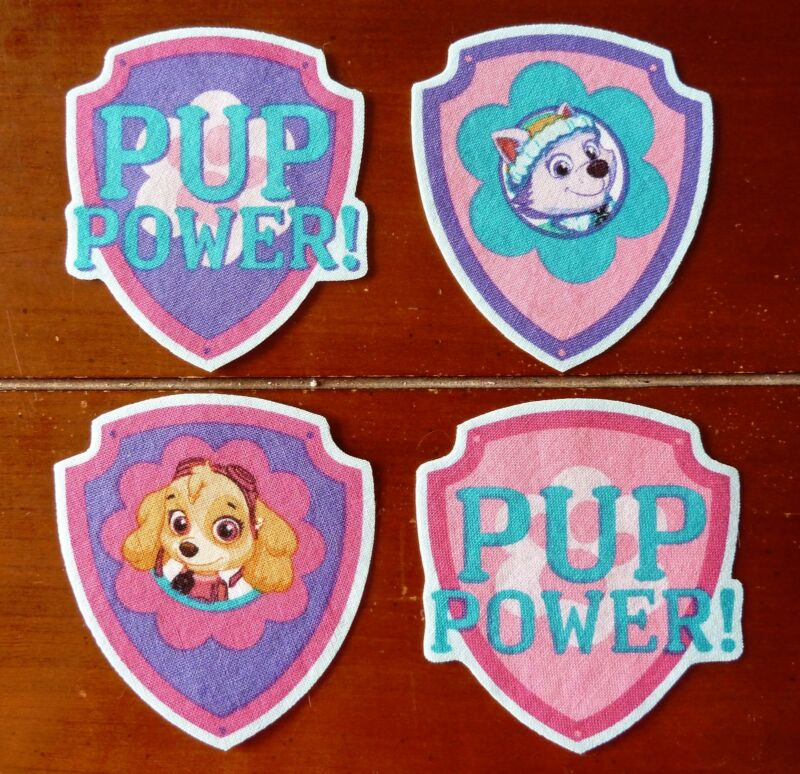 Iron On or Sew On Transfer Applique Paw Patrol Girls Cotton Fabric Patches Patch