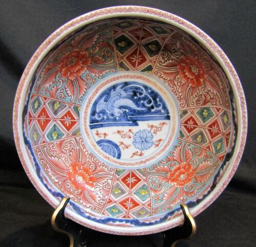 ANTIQUE JAPANESE MEIJI ERA IMARI BOWL HAND PAINTED REDS GREENS COBALT BLUES