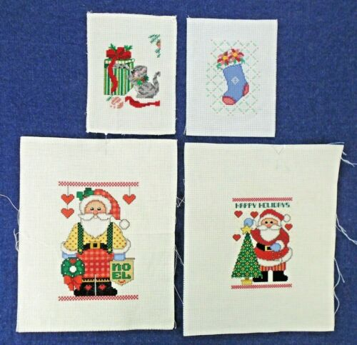 4 Pieces Christmas Santa Stocking Cat Tree Noel Finished Cross Stitch Pictures