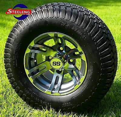 "GOLF CART 10""x7'' GUNMETAL BULLDOG WHEELS and 20"" STREET/TURF TIRES (SET OF 4)"