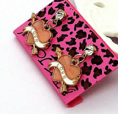Betsey Johnson Crystal Pink Heart Gold Drop Dangle Earrings Free Gift Bag