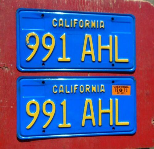 1970 California Nice Original PAIR 991 AHL  License Plates