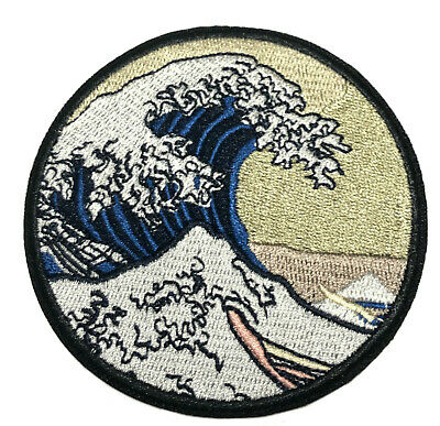 Retro Ocean Waves Embroidered Patch Iron/Sew-On Applique Wander Travel Souvenir