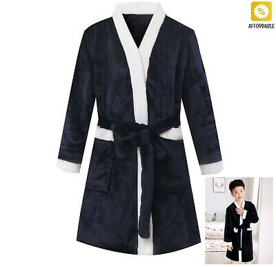 Kids Bathrobe Winter Fleece Robes For Boys Solid Girls Pajamas Warm Children