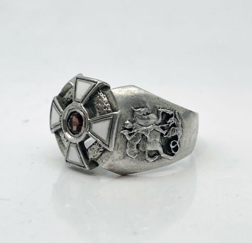 Russian Imperial 84 Silver Enamel Ring St.George Cross