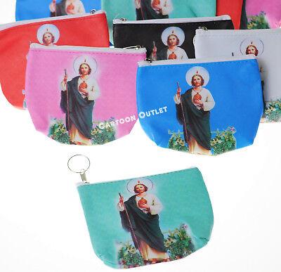 12 Communion Bautizo Recuerdos Party Favors Coin Bag KEY CHAINS SAN JUDAS ](Communion Party Bags)