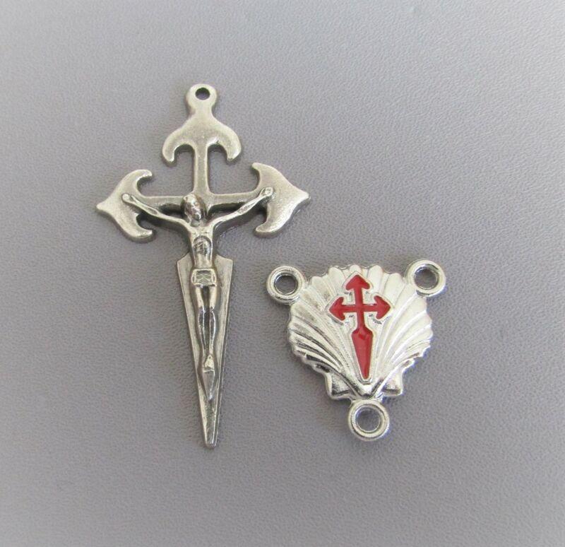 Rosary CENTER & CRUCIFIX Saint St JAMES Camino de Santiago Shell RED Cross L127